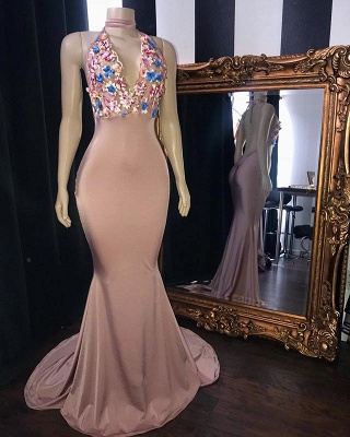 Sweet Pink Florals Lace Appliques Elegant Trumpt Long Prom Dress UKes UK UK   Simple Sleeveless V-Neck Evening Dress UKes UK_2