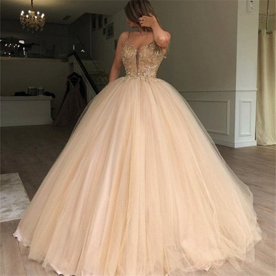 Sexy Ball Gown Spaghetti Straps Sleeveless Beads Champagne Bridal Gowns_3