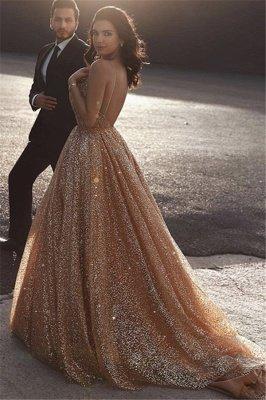 Champagne Elgant A-line Spaghetti Straps Backless Sequin Prom Dress UKes UK UK_2