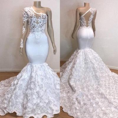 One Shoulder Lace Appliques Meramid Prom Dress UKes UK UK with sleeve_5