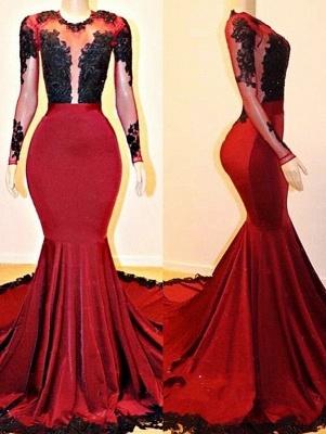 Long Sleeves Elegant Mermaid Lace Appliques Sheer Prom Dress UKes UK UK_1