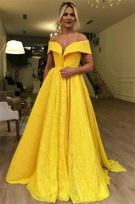 Luxury A-Line Off The Shoulder Lace Yellow Affordable Evening Dress UKes UK UK_1