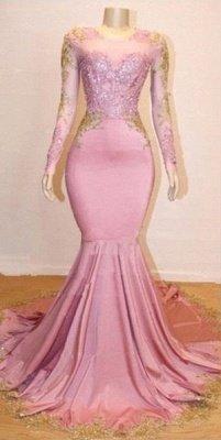 Sweet Pink Lace Appliques Long Sleeves Prom Dress UKes UK UK | Luxury Elegant Trumpt Evening Dress UKes UK_3
