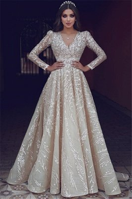 Elegant Long Sleeve Evening Dresses UK   Appliques V-neck New Arrival Prom Dresses_1