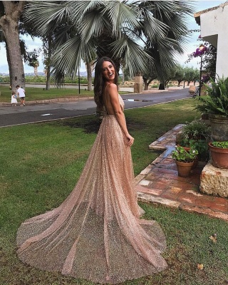 Simple Sequins A-Line Long Prom Gowns | Spaghetti Straps V-Neck Evening Dress UK_4