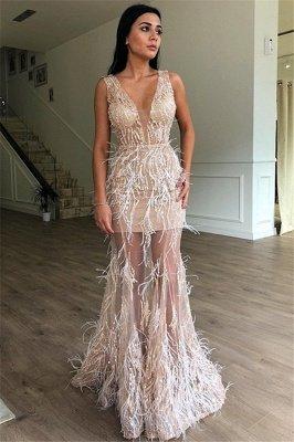 Luxury A-Line Sleeveless Sheer Tulle Luxury Feather Prom Dress UKes UK UK_1