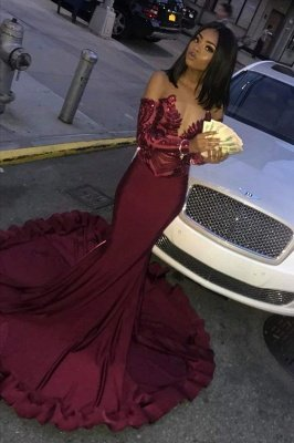 Elegant Wine Red Maroon Sequins Elegant Trumpt Prom Dress UKes UK UK | Sexy Long Sleeves Evening Dress UKes UK On Sale_1