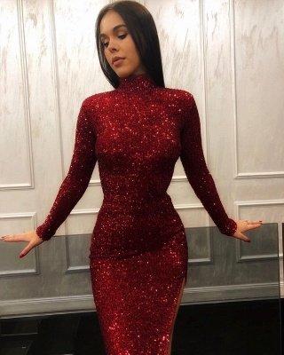 Burgundy Maroon Column High Neck Long Sleeves Sequin Side Slit Prom Dress UKes UK UK_2