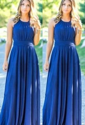 Ocean Blue Halter Chiffon Affordable Bridesmaid Dress UKes UK | A-line Backless Long Bridesmaid Dress UKes UK_1