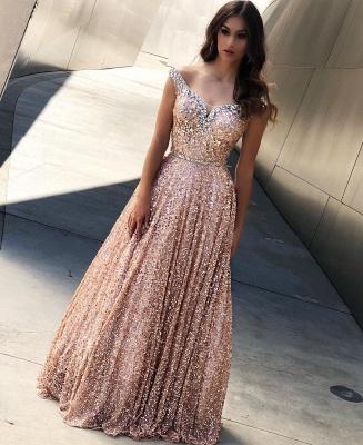 Rose Gold Sequin Affordable Evening Dress UKes UK UK |Sexy Off The Shoulder Elegant Bling-bling Prom Dress UK_3