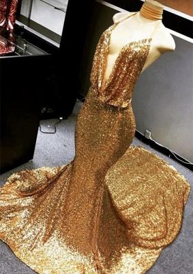 Gold Sparkly Sequined Deep Flow Neck Prom Dress UK | Halter V-neck Elegant Trumpt Evening Dress UK_1