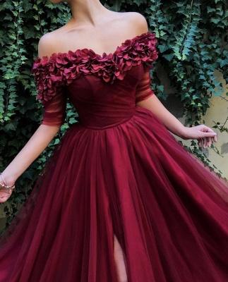 Burgundy Maroon A-line Off The Shoulder Tulle Flower Applique Prom Dress UKes UK UK_3