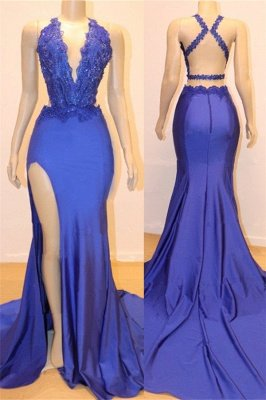 Elegant Sexy V-Neck Elegant Open back Side Slit Prom Dress UKes UK UK Sexy | Sexy Royal Blue Elegant Mermaid Beads Lace Evening Gowns_1
