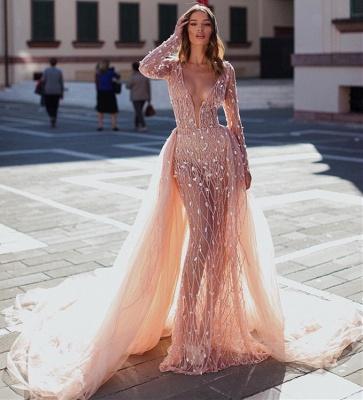 Sexy Pink Elegant Mermaid Seductive Deep Sexy V-Neck Long Sleeves Sparkly Crystal Prom Dress UKes UK UK With Detachable Skirt_3