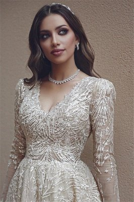 Elegant Long Sleeve Evening Dresses UK   Appliques V-neck New Arrival Prom Dresses_2