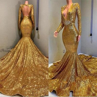 Luxury Elegant Trumpt Sequins Long Sleeves Floor Length Prom Dress UKes UK UK_4