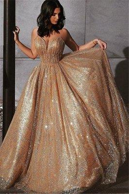 Champagne Elgant A-line Spaghetti Straps Backless Sequin Prom Dress UKes UK UK_1