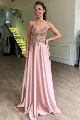 Luxury A-Line Spaghetti Straps Sleeveless Beads Pink Prom Dress UKes UK UK_1