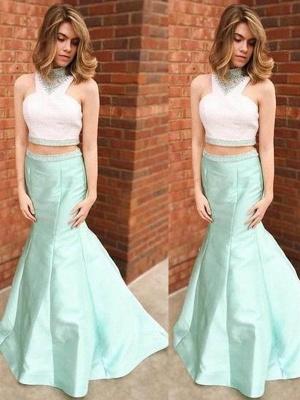 Sexy Halter Crystal Mermaid Prom Dress UKes UK Two Piece Ruffles Sleeveless Evening Dress UKes UK_2