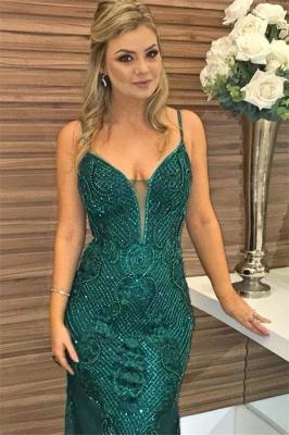 Green Beaded Spaghetti-Straps Lace Appliques without Sleeve Elegant Mermaid Evening Dress UK UK_2