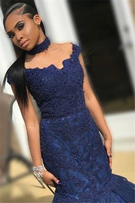 Navy Blue Off-The-Shoulder Beaded Lace Appliques Tulle Elegant Trumpt Prom Dress UKes UK UK_2