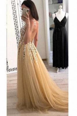 Sexy Lace Appliques Elegant V-Neck Crystal Prom Dress UKes UK Backless Sleeveless Evening Dress UKes UK_3