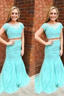 Sexy Jewel Lace Appliques Two Piece Prom Dress UKes UK Mermaid Sleeveless Evening Dress UKes UK_3