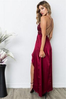 Burgundy Sequins Spaghetti Strap Prom Dress UKes UK Lace Up Sleeveless Side Slit Elegant Evening Dress UKes UK_4