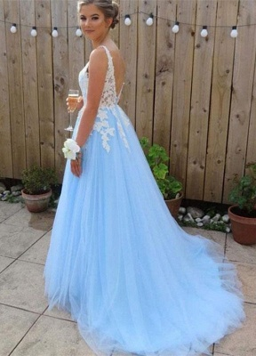 Sexy Elegant V-Neck Lace Appliques Open Back Prom Dress UKes UK Tulle Sexy Sleeveless Evening Dress UKes UK_2