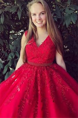 Fashion Red Elegant V-Neck Lace Appliques Prom Dress UKes UK Sleeveless Evening Dress UKes UK with Beads_2