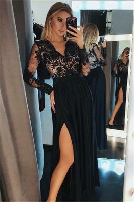 Side-Slit Lace Elegant V-Neck Prom Dress UKes UKBlack Tulle Long Sleeves Elegant Evening Dress UKes UK Sexy_2
