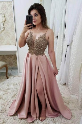 Sexy Beads Spaghetti-Strap Lace Appliques Prom Dress UKes UK Side slit Sleeveless Evening Dress UKes UK_3