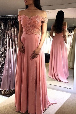 Sexy Pink Off-the-Shoulder Prom Dress UKes UK Lace Appliques Sexy Sleeveless Evening Dress UKes UK_1