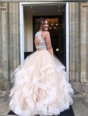 Sequins Jewel Sheer Prom Dress UKes UK Two Piece  Sleeveless Evening Dress UKes UK_2