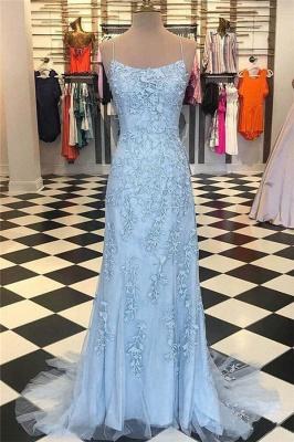 Sheer Lace Appliques Spaghetti-Strap Prom Dress UKes UK  Mermaid Sleeveless Evening Dress UKes UK_1