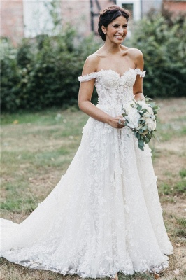 Flowers Off-the-Shoulder Wedding Dresses UK | Appliques Sheer Sleeveless Floral Bridal Gowns_1
