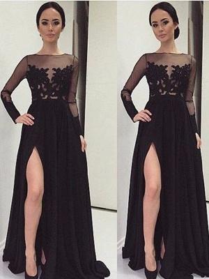 Black Long Sleeve Prom Dress UKes UKLace Bateau Side Slit Tulle Evening Dress UKes UK_1