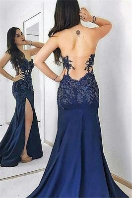 Navy Blue Sweetheart Applique Prom Dress UKes UK Mermaid Open Back Side Slit Elegant Evening Dress UKes UK_2