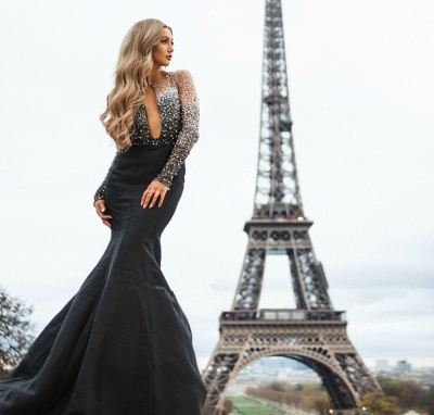 Amazing Black Sheer-Tulle Lace Appliques with Sleeves Elegant Mermaid Prom Dress UK UK_4