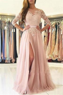 Sexy Lace Appliques Long Sleeves Prom Dress UKes UK Open Back Jewel Side Slit Evening Dress UKes UK with Sash_1