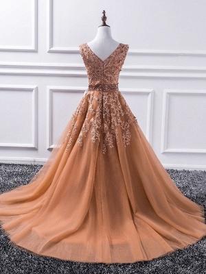 Sexy Elegant V-Neck Applique Crystal Prom Dress UKes UK Sleeveless Tulle Elegant Evening Dress UKes UK Sexy_2