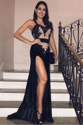 Amazing Black Velvet Spaghetti-Straps Side-Split Evening Dress UK UK_1