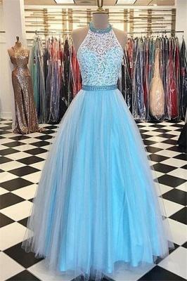 Sexy Lace Appliques Halter Prom Dress UKes UK Sheer Sleeveless Evening Dress UKes UK with Ribbons_1