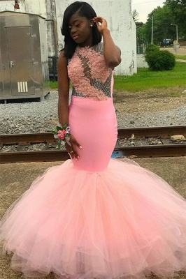 Sweet Pink Sleeveless Lace Appliques Backless Tulle Elegant Trumpt Prom Dress UKes UK UK_1