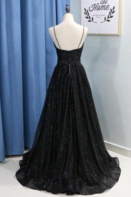 Spaghetti Strap Sequins Prom Dress UKes UK Sleeveless Side Slit Elegant Evening Dress UKes UK_2