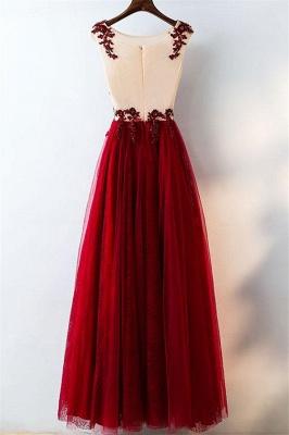 Lace Appliques Jewel Prom Dress UKes UK Tulle Sleeveless Evening Dress UKes UK with Beads_3