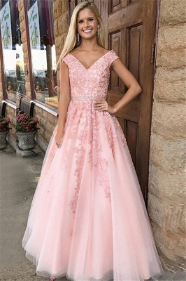Fashion Pink Off-the-Shoulder Prom Dress UKes UK Lace Appliques Crystal Sleeveless Evening Dress UKes UK with Sash_1