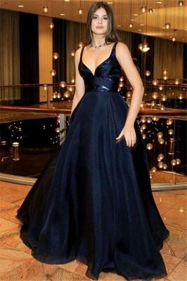 Black Spaghetti Strap Prom Dress UKes UK Sleeveless Sexy Tulle Elegant Evening Dress UKes UK_1