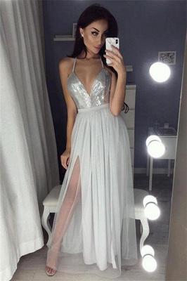 Sexy Sequins Halter Lace Appliques Prom Dress UKes UK Side slit Sheer Sleeveless Evening Dress UKes UK_2