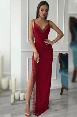 Spaghetti Strap Lace Prom Dress UKes UK Side Slit Sleeveless Elegant Evening Dress UKes UK_1